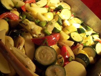 Gemüseauflauf im Zwischenstadium