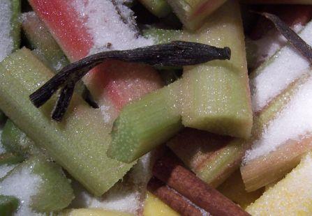 Rhabarber und Mango mit Zucker und Vanille