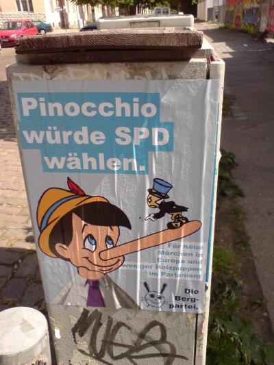 die kleinen parteien und ihre plakate - pinocchio bergpartei