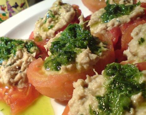 gefüllte tomaten mit thunfisch aioli und so
