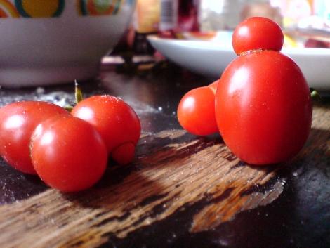 kleine lustige kopf tomaten