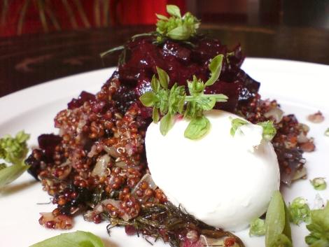 quinua mit wildfenchel und zwiebel dreierlei sorte versehen mit bueffelmozzarella und basilikumbluete